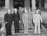 Vyacheslav Molotov, James Byrnes, Charles Bohlen, Harry Truman, William Leahy, and Joseph Stalin in Potsdam, Germany, 17 Jul 1945, photo 2 of 5