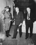 British Ambassador to USSR Archibald Clark and British Foreign Office Under Secretary Alexander Cadogan at Schloss Cecilienhof, Potsdam, Germany, 19 Jul 1945
