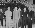 Harry Vaughan, Joseph Stalin, Harry Truman, Andrei Gromyko, Charles Ross, James Byrnes, and Vyacheslav Molotov at Stalin
