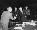 Vyacheslav Molotov shaking hands with James Byrnes, Schloss Cecilienhof, Potsdam, Germany, 24 Jul 1945