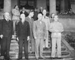 Vyacheslav Molotov, James Byrnes, Charles Bohlen, Harry Truman, William Leahy, and Joseph Stalin in Potsdam, Germany, 17 Jul 1945, photo 5 or 5