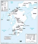 Estimated Japanese troop depositions in Kyushu, Japan, 9 Jul 1945