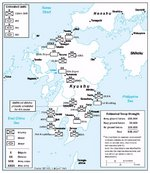 Estimated Japanese troop depositions in Kyushu, Japan, 2 Aug 1945