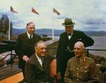 Franklin Roosevelt, the Earl of Athlone, Mckenzie King, and Winston Churchill on the terrace at the Citadelle, Quebec, Canada, Aug 1943