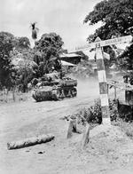 Stuart light tank of an Indian cavalry regiment advancing toward Rangoon, Burma, Apr 1945