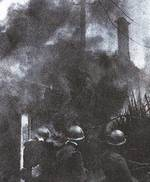 Japanese troops in front of burning buildings, Shanghai, 1932
