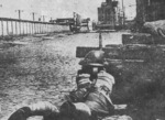 Soldier of Chinese 88th Division guarding a position in Shanghai, China, Sep-Oct 1937