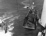 LCVP landing craft suspended from a transport