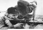 German Volkssturm troops with a MG 34 machine gun, Silesia, Germany (now Poland), Feb 1945