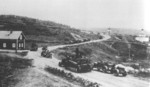 German vehicles marching toward Murmansk, Russia during Operation Silver Fox, 1941