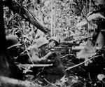 American troops guarding a Browning M1917 machine gun post, Cape Gloucester, Jan 1944