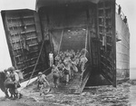 LST-66 landing troops during the invasion of Cape Gloucester, New Britain, Bismarck Archipelago, Dec 1943