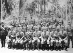 Japanese 8th Fleet Staff & Base Force officers, Buin, Bougainville, May 1943; Admiral Minoru Ota 2nd from left, General Noboru Sasaki 3rd from left, Admiral Tomoshige Samejima at center, Major Kamiya