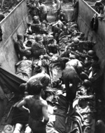 American casualties lying on stretchers aboard a landing craft, awaiting evacuation, Munda Point, New Georgia, Solomon Islands, 12 Jul 1943