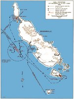 Map noting American naval operations off Bougainville, Solomon Islands, 31 Oct-2 Nov 1943