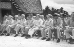 American officers at Guadalcanal, Solomon Islands, circa 1943; among them were BrigGen A. F. Howard, RAdm Theodore Wilkinson, MajGen Charles D. Barrett, and MajGen Robert S. Beighter