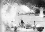 Japanese freighter exploding after being hit by a bomb, Rabaul, New Britain, Nov 1943