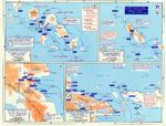 Map noting engagements in the Solomon Islands and New Guinea, late 1943 to early 1944
