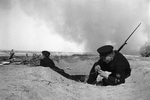 Soviet naval infantry signal troops setting up communication wires, Stalingrad, Russia, 1 Aug 1942