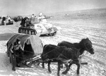Soviet T-34 tanks and horse-drawn supply sled in southern Russia during Operation Uranus, Nov 1942