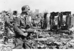 German Air Force troops securing areas recently overran by Army troops, Stalingrad, Russia, 22 Oct 1942; ntoe MP 40 submachine gun
