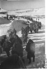 A column of German soldiers on the march to a Russian prisoners of war camp, Stalingrad, Russia, Feb 1943
