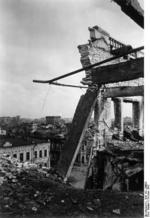 Damaged buildings in Stalingrad, Russia, Oct 1942