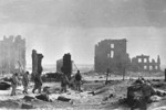 Soviet troops patrolling the ruins of Stalingrad, Russia, 2 Feb 1943