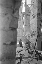 Soviet troops making their way through the ruins of Stalingrad, Russia, 1 Nov 1942