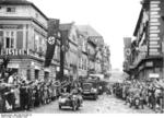 German troops in motorcycle and Einheits-Diesel trucks arriving in recently annexed territory of Sudetenland, Germany, 9 Oct 1938