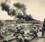 Troops of 2nd Battalion of 23rd Infantry Regiment of Japanese 13th Division fighting in Sha, Hubei, China, 8 Jun 1940