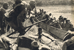 Soldiers of Japanese 13th Division crossing a tributary Han River south of Shayangzhen, Hubei, China, 6 Jun 1940