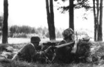 Finnish soldiers during Battle of Tali-Ihantala, late Jun or early Jul 1944; note German panzerfaust anti-armor weapon