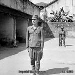 Japanese Army Major Ichikawa of 3rd Battalion, 215th Infantry Regiment awaiting trial for the death of 600 civilians of the village of Kalagan in Southern Burma during the war, Rangoon, 25 Feb 1946
