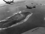 US Navy SBD Dauntless dive bombers over Truk Atoll, Caroline Islands, 16-18 Feb 1944