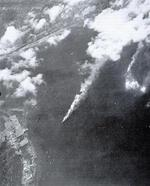 Submarine tender Heian Maru burning during Truk attack, 17 Feb 1944