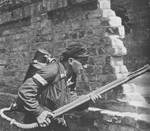 Polish resistance fighter with K pattern flamethrower, Warsaw, Poland, 22 Aug 1944