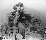 Prudential building in Warsaw, Poland exploding as it was hit by a shell from a German Karl-Gerät self-propelled howitzer, 28 Aug 1944