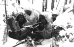 Finnish Army machine gun crew during the Winter War, 21 Feb 1940; note Maxim M32/33 machine gun