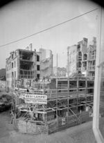 Damaged buildings under repair in Helsinki, Finland, 1940