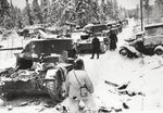 Finnish troops inspecting destroyed Soviet vehicles, Finland, 17 Jan 1940