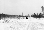 Wrecked Soviet T-26 tank in Finland, near the Kemijärvi-Märkäjärvi road somewhere in western Finland, 1940; this tank was repoted destroyed by Swedish volunteers