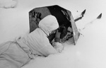 Soviet soldier in prone position with rifle and shield, Viipuri, Finland, 4 Mar 1940