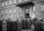 Finnish civilians protesting in front of the Swedish embassy in Helsinki, Finland, demanding official assistance in the Winter War, Dec 1939