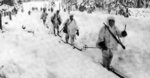Finnish soldiers on skis on the retreat, near Hyrsylä, Finland, early Dec 1939