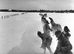 Soviet troops clearing a path in the snow, Finland, 1939-1940
