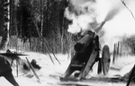 Finnish gun in action near Impilahti, Finland, Feb 1940