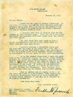 Letter from Roosevelt to Landis regarding professional baseball in the United States during WW2, 15 Jan 1942