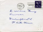 Letter from Lillian Russel to Harry Truman, envelope side 1 of 2, 12 Apr 1951