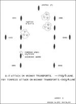 Diagram showing attacks on Japanese transports during Battle of Midway, 3-4 Jun 1942; Annex A of Toyama